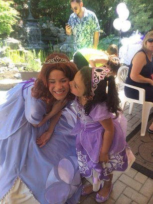 Princess Sofia kissed on the cheek | Princess Party