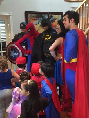 Captain America, Spider-Man, Batman, Wonder Woman and Superman | Group Superhero Party